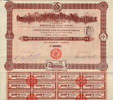 Italy 1907 Bond Railway Chemin de Fer Victor Emmanuel 500 fr Deco Uncancelled
