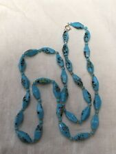 blue multi colour glass necklace silver clasp Vintage 1920s to 1930s end of day