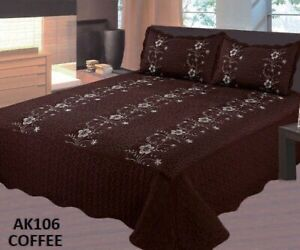 SOFIA FLOWERS COFFEE EMBROIDERED BEDSPREAD COVERLET SET 3 PCS CAL KING SIZE