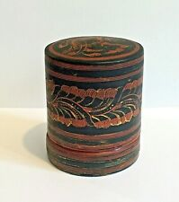 Burmese Lacquerware Betel Nut Box Vintage Lacquer Red & Black on Bamboo Small
