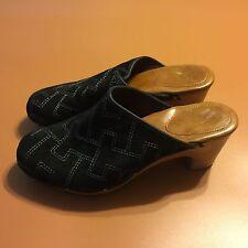 Tommy Hilfiger Bess Black Suede Slip On Clog Mule Wedge Heels Womens Sz 8 1/2 M