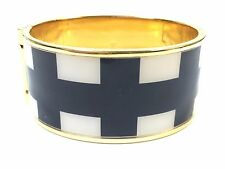 Kate Spade Black & White Window Pane Hinged Bracelet NWT Classic Chic w/ DustBag
