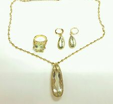 18k Yellow Gold jewelry Set,Necklace,Earrings And Ring,Green Citrine and Diamond