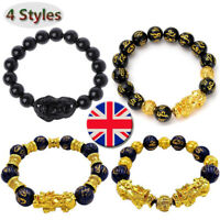 Luck Jewelry Feng Shui Black Obsidian Pi Xiu Wealth Bracelet Attract Wealth&Good
