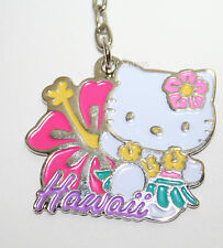 Hello Kitty Hula Girl HAWAII Hibiscus Flower Metal Charm Key Ring Chain Keychain