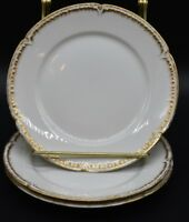 (3) GDA Chas Field Haviland Limoges Bread Plates Blank Scalloped Gold Trim