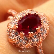 Large 2CT Oval Red Ruby Ring Women Wedding Jewelry Gift 14K Rose Gold Plated