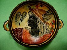 GREEK MYTHOLOGY pedestal dish with etched & hand painted MERCURY image.14/200