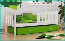 Kinderbett Tedi 160x70 cm Bett mit Matratze Bettkasten Weiß Grün Neu