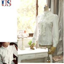 US Women Victorian Ruffle Office T-Shirt Tops High Neck Shirt Long Sleeve Blouse