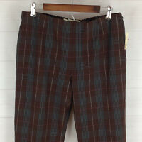 NWT $59 Liz Claiborne womens petite L stretch brown check elastic waist pants
