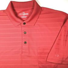 Grand Slam Golf Mens L Polo Shirt S/S Coral Textured Knitted Stripes Polyester