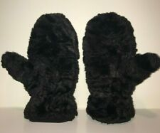Kenneth Cole New York Soft Black Faux Fur Fleece Lined Mittens Medium/Large
