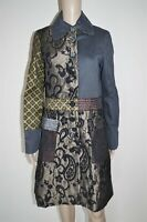 DESIGUAL sz 40 M ? WOMENS COAT JACKET STRIPED PATCHWORK EMBROIDERED WOOLEN NEW
