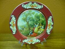 """New listing Vintage Daher Small 8"""" Round Metal Tray Victorian Scene Made In Belgium"""
