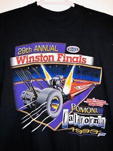 NOS XL Vintage NHRA T-Shirt USA 1993 POMONA CA Winston Finals Racing Retro Black