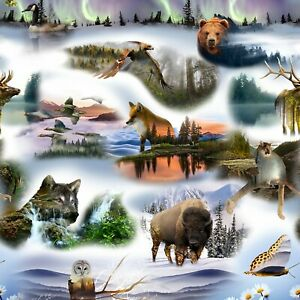 Hoffman Call of the Wild Animals PRISTINE WILDERNESS Scenic Fabric 45 Inch Panel