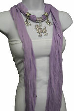 Women Dog Poodle Pendant Necklace Lavender Fashion Scarf Fabric Purple Chic