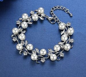 Simulated Pearl and Crystal Bracelet - Rhodium Plated - New In Gift Box
