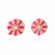 Baguette Ruby Floral Stud Earrings 18k Rose Gold Diamond Stud Jewelry For Women