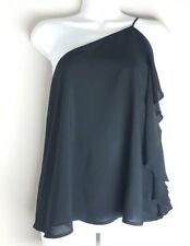 New Womens CAD One Shoulder Ruffle black blouse Top Night out Sz Medium NWT