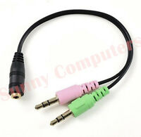 3.5mm Stereo Audio And Mic Male Plugs to Combined Female Adapter Combine Cable