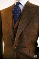 Men's Brown Wool Blend Herringbon Vintage Tweed Suit Blazer Retro Tuxedo Suit