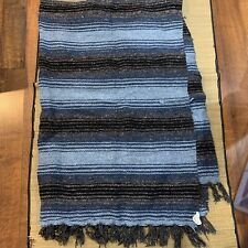 Beautiful Franks Textiles Mexican Serape Striped Blanket Throw Yoga Gray Blue