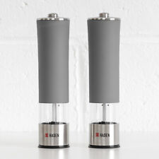 23cm Grey Electric Salt & Pepper Grinders Set Battery Powered Mills Shakers Pots