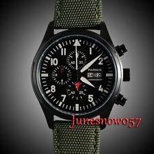 Parnis 42mm black dial PVD case stopwatch Full chronograph quartz mens watch 134