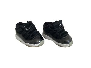 Air Jordan Retro 11 Toddler sz 3C Low TD 'Barons Black White Gray 505836-010