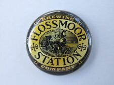 BEER BUTTON Pinback ^ FLOSSMOOR STATION Brewing Company ~ Illinois Craft Brewery