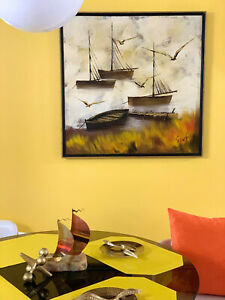 VTG 1960s MID Century Modern Sparks Painting Wall Art Abstract Seagulls Boats