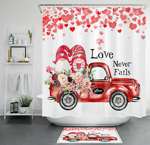 Valentine's Day Dwarf Elf Couple Flower Truck Shower Curtain Sets Bathroom Decor