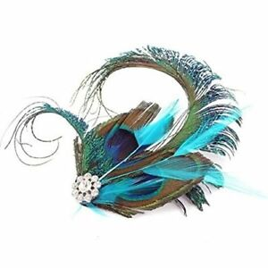 Peacock Feather Fascinator Hair Clip Slide Vintage Races 1920s Silver Blue xx