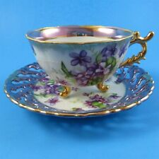 Reticulated Purple Violets Luster Castle Aristocrat Japan Tea Cup and Saucer Set