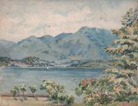 IMPRESSIONIST CONTINENTAL LAKE LANDSCAPE Antique Watercolour Painting c1920