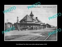 OLD LARGE HISTORIC PHOTO OF FORT EDWARD NEW YORK, THE RAILROAD STATION c1910
