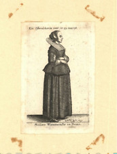 Wenzel HOLLAR old print engraving Mulier Wiennensis in Domo AUSTRIA 1649 WIEN