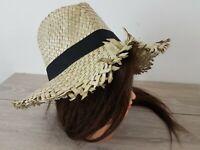 Filippo Catarzi Summer 100% Straw ITALY Fedora Hat Natural Summer Sun Size M/L