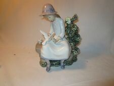 "Lladro by Nao Girl on Bench 1984 9"" Mint...no box"