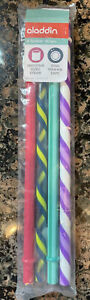 Aladdin 4 Pack Smoothie Sized Reusable Plastic Tumbler Straws Multicolor NEW