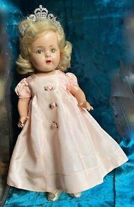 Vntg Princess Elizabeth Madame Alexander Composition Doll Orig Dress Shoes Tiara