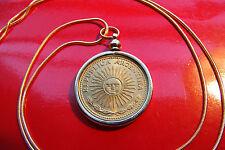 """Argentinian Golden Bronze Sun Coin Bezel on a 24 """"  18k Gold Filled Snake Chain"""