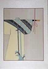 Vintage Chinese Water Painting on Silk, Japanese traditional Kimono illustration