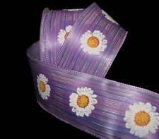 "5 Yards Daisy Flowers Purple Striped Satin Wired Ribbon 2 1/2""W"