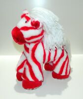 "Rare First & Main White Red Peppermint Zebra Plush 12"" Stuffed Animal Toy Friend"