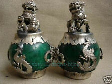 collection chinois Vieux  Tibet argent nature jade Lion Statue 1PC