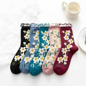Women Floral Ruffled Cotton Socks Middle Tube Socks Harajuku Casual Ankle Socks