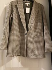 H&M Womens Long Sleeve Plaid Blazer Jacket Sz 6 Polyester Blend